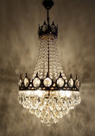 Antique Vintage French Basket Style Brass & Crystals Chandelier Ceiling Lamp photo