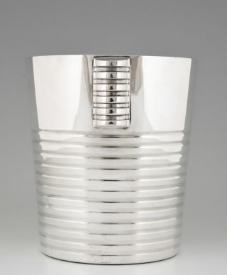 French Art Deco Champagne Bucket Luc Lanel For Christofle,  1930 photo