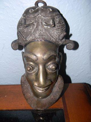 Antique Bamileke Cameroon Brass N ' Kang Hip Face Maskafrican - Tribal photo