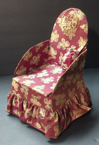 Rare Antique Victorian Sewing Box Chintz Fabric C.  1905 Chair Shaped photo