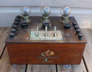 Antique Vintage 3 Tube Ac 3 Model C Magnavox Audio Frequency Amplifier photo