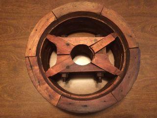 Antique Wooden Flat Belt Split Pulley Primitive Wheel Decoration Farm Tool photo