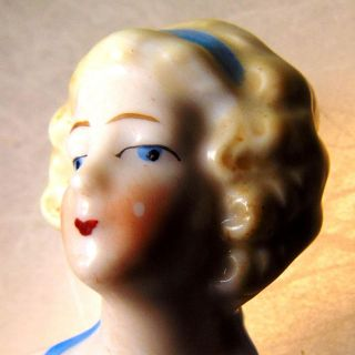 Bisque Doll Pin Cushion Figurine German Mold Hair Bent Art Antique Vtg Home Deco photo