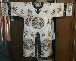 Antique 19thc Chinese Robe Silk Butterfly Embroidery Forbidden Stitch photo