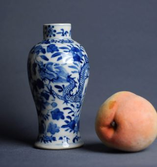 Antique Chinese Qing Dynasty Blue And White Dragon Vase W Floral Motives Ca 1890 photo