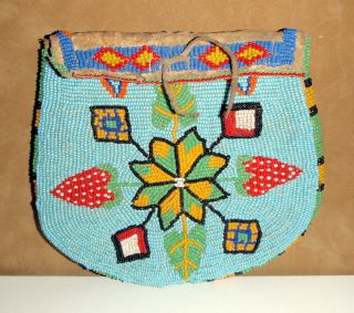 Vintage Ute Indian Beaded Belt Bag W/strawberries - Native American 6