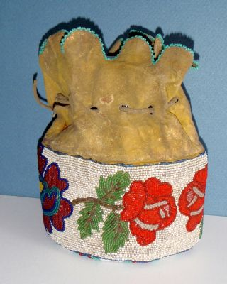 Vintage Ute Indian Beaded Drawstring Purse,  Native American,  Leather,  Floral photo