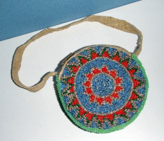 Vintage Ute Indian Beaded Coin Purse/belt Bag W/strap - Native American 4