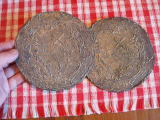 2 Victorian Dutch Pressed Tin Hotpads Hot Plate Pot Coaster Windmills 19th Cen photo