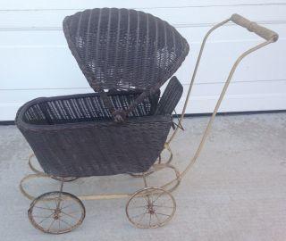 Antique 1919 Lloyd Loom Wicker Baby Doll Buggy Carriage Stroller W Canopy photo