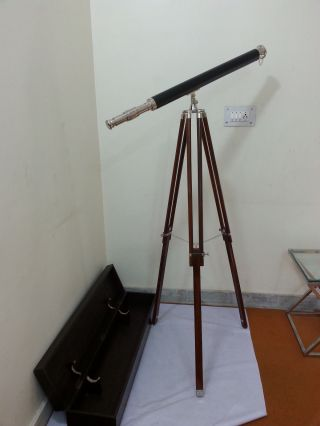 Nickel And Leather Bound Telescope Wtripod - Nautical With Wooden Box photo