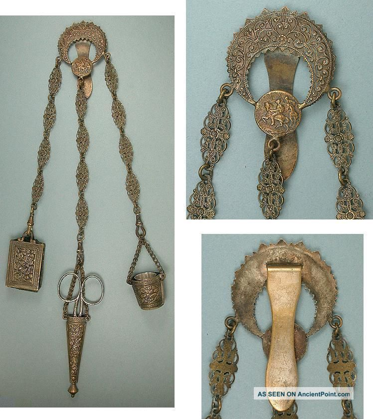 Ornate Antique Sewing Chatelaine W/ Scissors,  Thimble & Pin Cushion Circa 1890 Other Antique Sewing photo