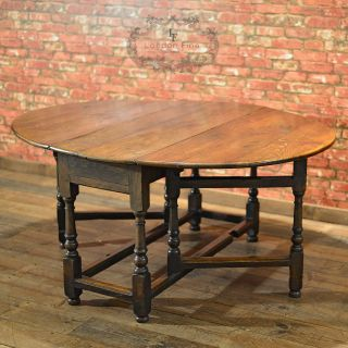 Antique Dining Table,  English Oak,  Gate Leg,  Drop Leaf,  Country Kitchen C.  1800 photo