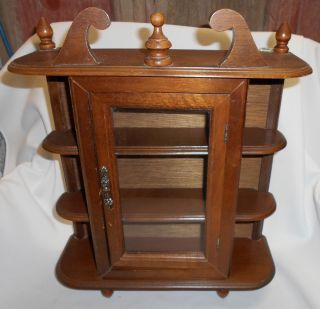 Vintage Wood Small Upright Hanging Showcase Curio Cabinet Glass Doors 2 Shelves photo