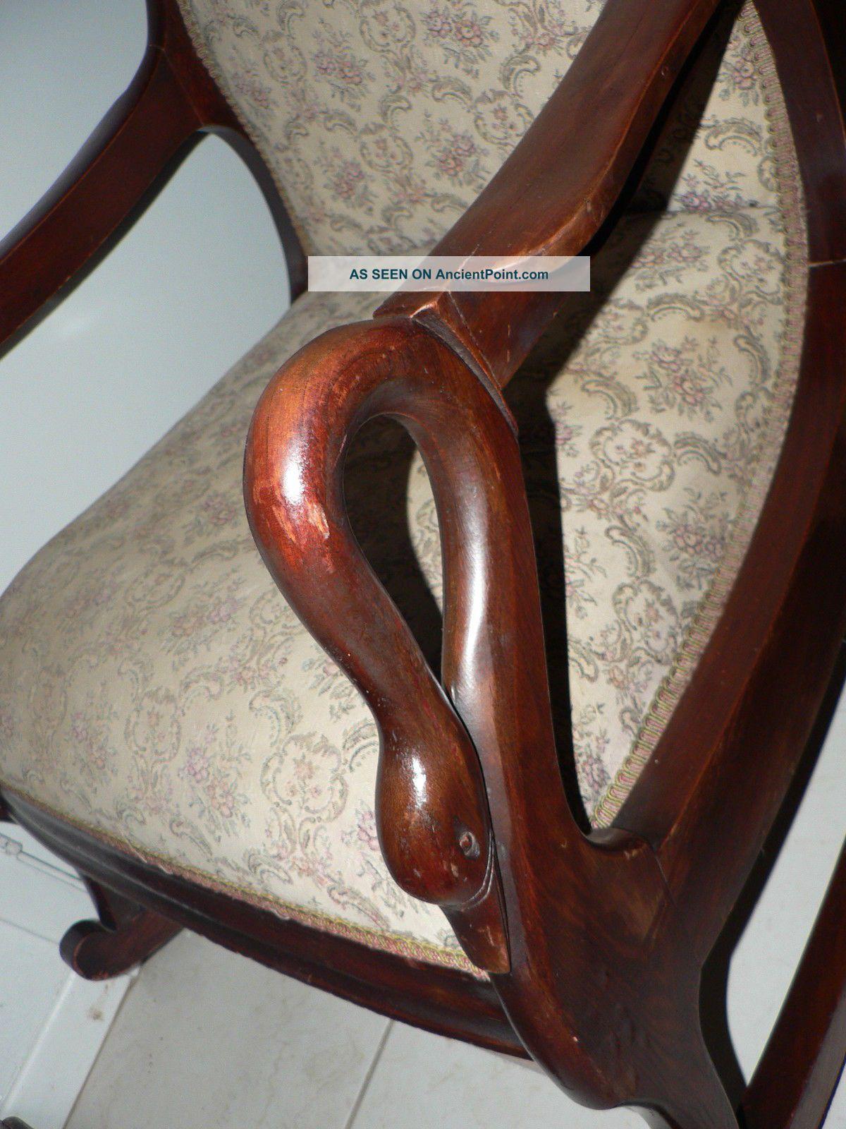 Antique Vintage Swan Duck Arm Rocking Chair Arts Crafts Mission Design Rare