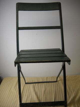 Vintage Wood Slat And Metal Folding Chair - Green Shabby Chic Church Chair? photo