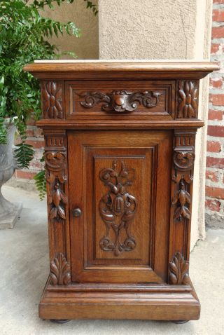Antique French Carved Oak Nightstand Display Stand Table Renaissance Marble photo