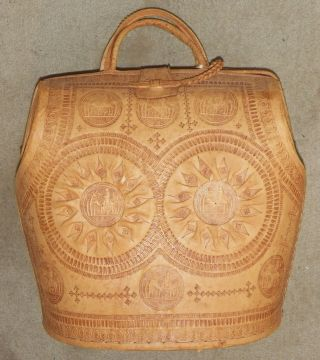 Handmade Hand Tooled Camel Leather Case Bag Made In Morocco Vintage Ethnographic photo
