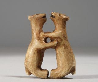 Antique Inuit - Native American Carved & Engraved Figural Toggle / Alaska - Bears photo