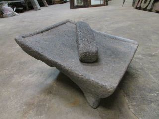 Antique Metate 6 Grinder - Rustic - Complete - Old Mexican - - Primitive - 12x14x7.  5 photo