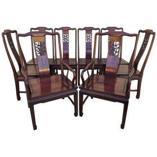 8 Asian Mahogany Dining Chairs Vintage Mid Century photo