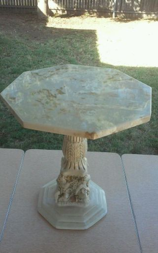 Vintage Plaster Cherub Side Table Plant Stand Marble Top photo