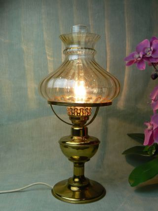 Rare Vintage Brass Table Lamp Oil Lamp Style With Glass Shade photo
