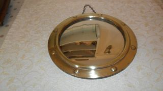 Vintage Small Brass Ships Convex Mirror With Hanging Chain photo