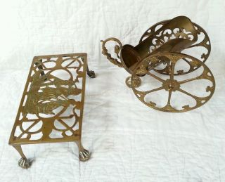 Vintage Antique Brass Wine Caddy And Nautical Ships Footed Trivet photo