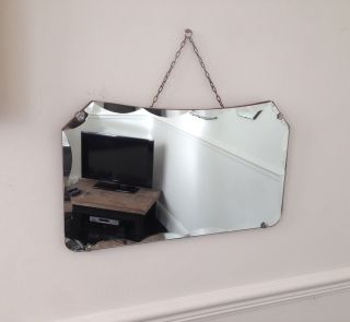 Vintage Art Deco Frameless Scalloped Beveled Edge Hanging Wall Mirror & Chain photo
