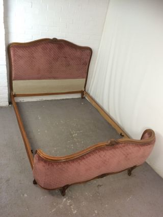 Vintage French Carved Wooden Pink Upholstered Double Bed In photo