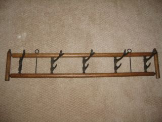 Antique Vintage Black Forest Adirondack Oak Hat Coat Rack 5 Double Antler Hooks photo