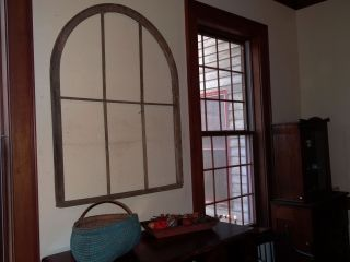 Ci 1850s Arched Window Frame Large Farmhouse Architectural Southern Heart Pine photo