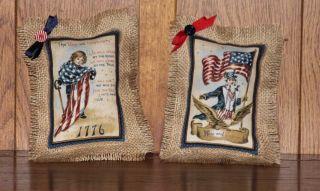 Primitive Americana Patriotic Burlap Pillow Tucks photo
