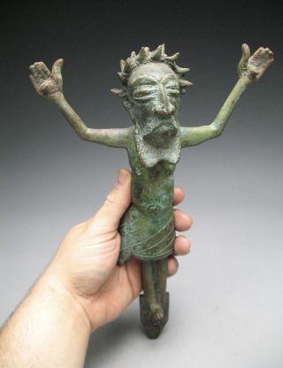 Unusual African Art (congo ?) Solid Bronze Jesus Crucifix Sculpture photo