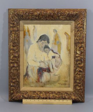 Antique Authentic Pedro Figari Oil Painting,  South American Mother & Child Nr photo