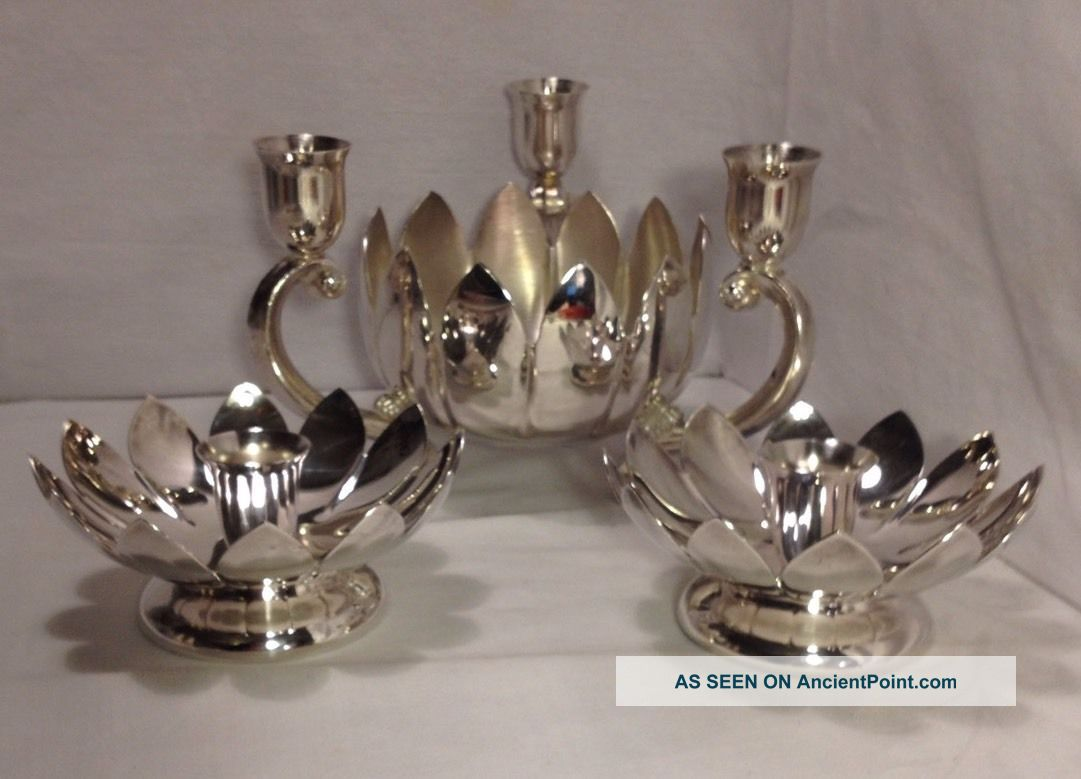 Reed & Barton / Leonard Silver Plated Lotus Blossom Centerpiece Candle Holders Candlesticks & Candelabra photo