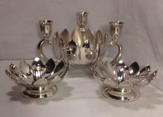 Reed & Barton / Leonard Silver Plated Lotus Blossom Centerpiece Candle Holders photo