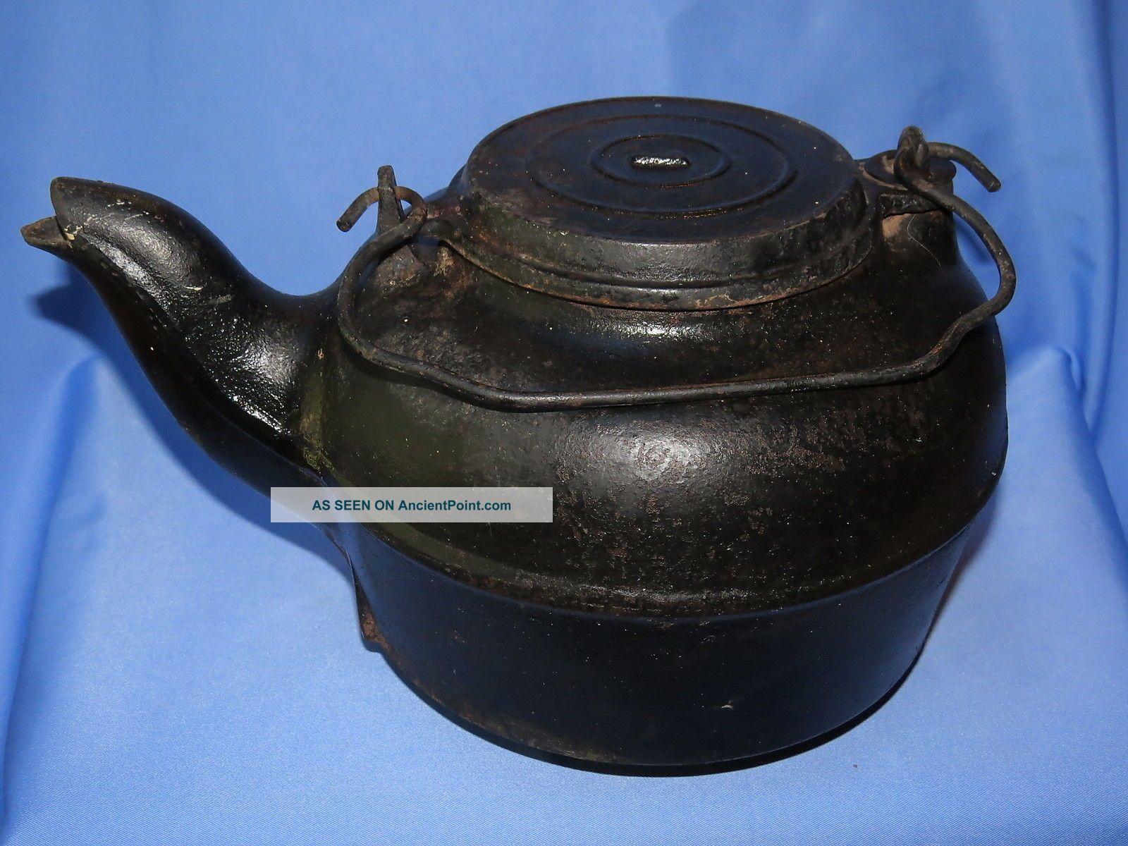 Cast Iron Primitive Anitque Hearth Cooking Tea Kettle Pot W/sliding Cover 7 Hearth Ware photo
