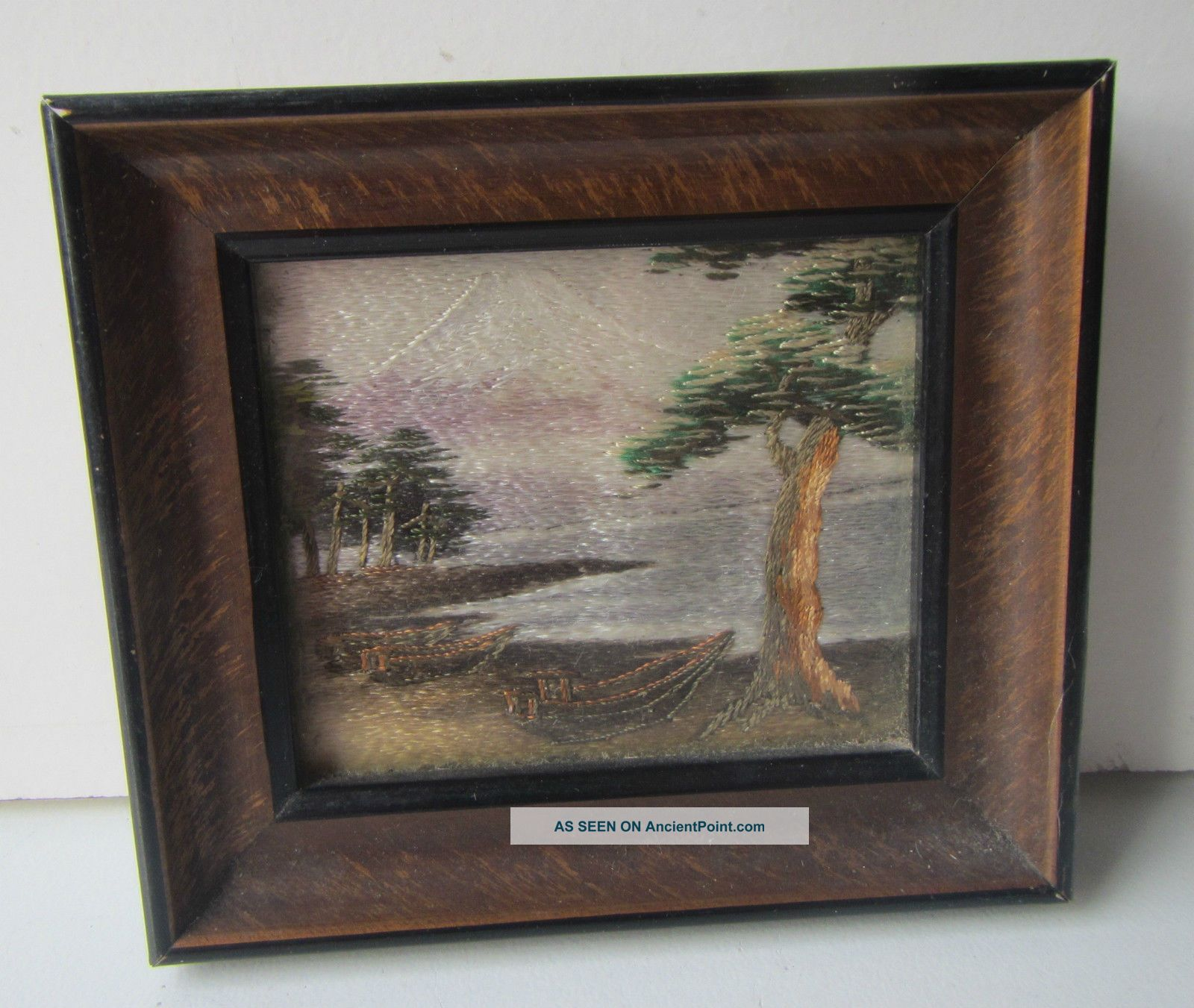 Vintage Oriental Silk Sewn Landscape Framed Picture Textiles photo