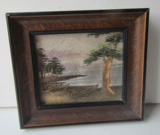 Vintage Oriental Silk Sewn Landscape Framed Picture photo