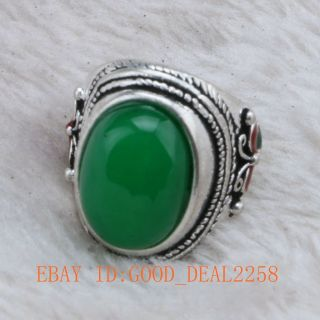 Tibet Silver Cloisonne Handwork Mosaic Jadeite Gemstone Ring photo