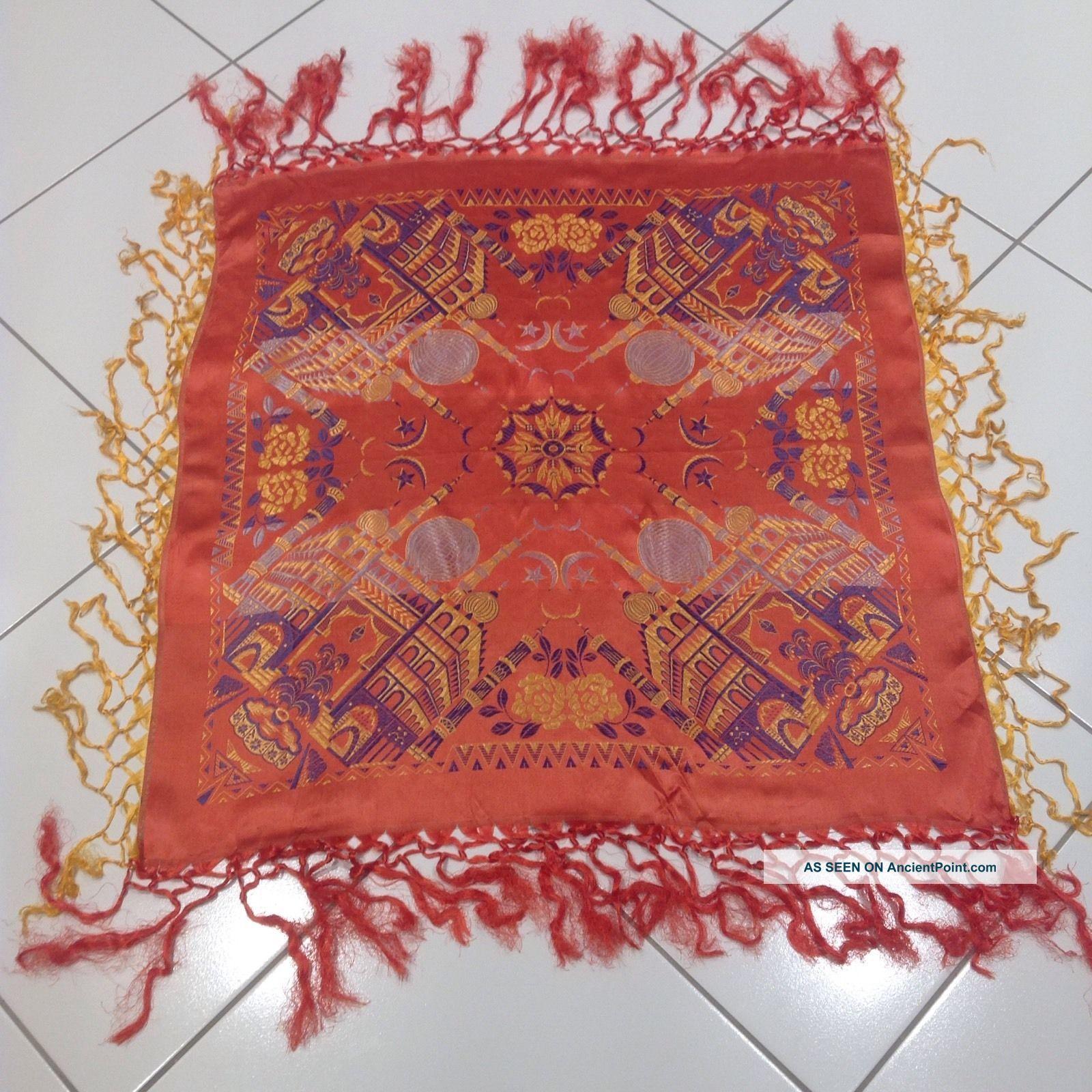 Vintage Silk Scarf Brocade Taj Mahal Piano Shawl Antique Textiles photo
