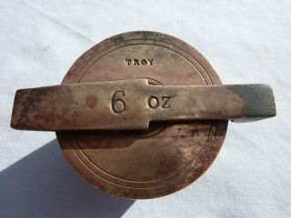 Antique/vintage Brass Troy Oz Apothecary Gold Jewellers Bucket Cup Case & Weight photo