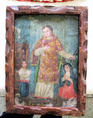 Antique Retablo On Tin Image Of San Leonardo A Rare Image Framed photo