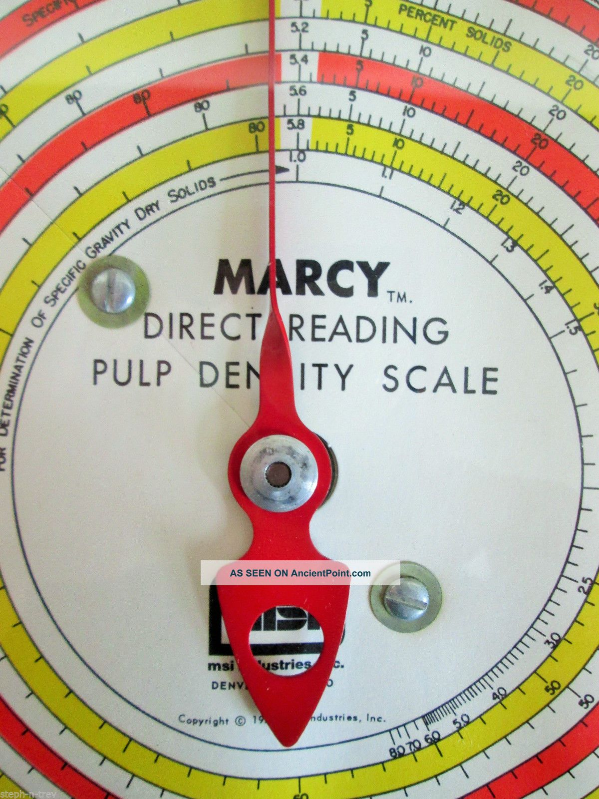 Vintage 1950 ' S Marcy Reading Pulp Density Scale Hanging