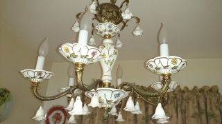 Vintage Porcelain And Brass 6 Iite Chandelier Italian Handpainted W/ 19 Flowers photo