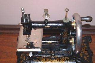 Antique Hand Crank German Müller No.  15 Cast Iron Sewing Machine photo