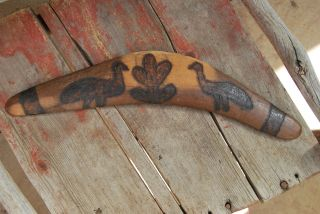 Old Central Australian Aboriginal Boomerang With Decoration photo
