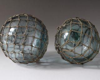 Japanese Vintage Two Round Glasses Fishing Floats photo